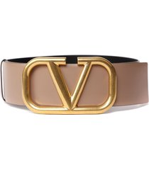 valentino garavani leather belt with maxi logo buckle