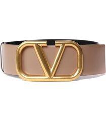valentino garavani leather belt with maxi logo buckle