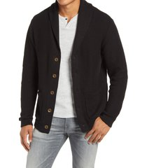 men's liverpool shawl collar cardigan, size small - black