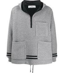 stone island patch pocket hoodie - grey