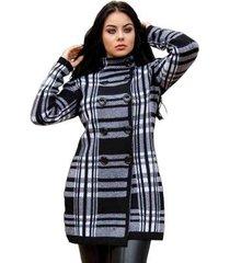 casaco sobretudo com botões tricot livora feminino - feminino