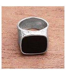 men's onyx signet ring, 'night window' (indonesia)