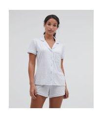 pijama americano manga curta e shorts liso com bolso | lov | cinza | p
