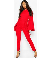 cape flute sleeve belted jumpsuit, red
