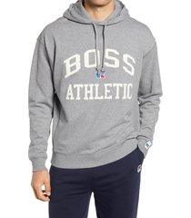 boss x russell athletic safara varsity logo hoodie, size x-large - grey