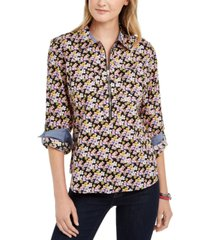 tommy hilfiger printed zip-neck popover top, created for macy's