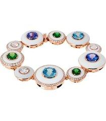 "multi stone white enamel ""unique"" bracelet"