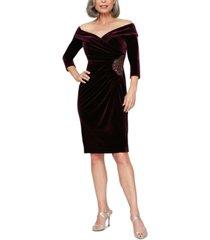 alex evenings petite velvet off-the-shoulder sheath dress