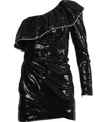 black sequinned ruffle dress