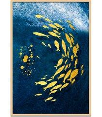 quadro 67x50cm urak oh6 peixe dourado decorativo moldura natural com vidro