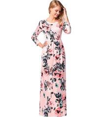 manga de siete cuartos vestidos de mujer largos vestido de playa-rosa
