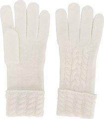 n.peal cable-knit gloves - white