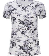 camiseta mujer flores grises color blanco, talla l