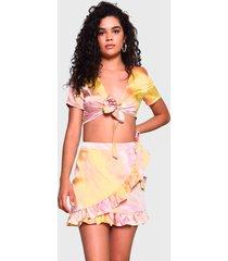 falda glamorous corta multicolor - calce regular
