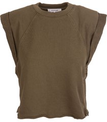 frame woman washed moss rolled up sweatshirt