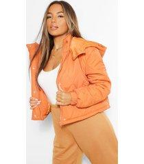 petite gewatteerde jas met capuchon, orange