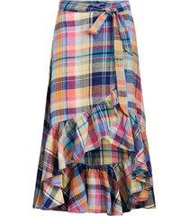 madras linen wrap skirt