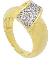 anel com zircã´nia e detalhe em rã³dio 3rs semijoias dourado - dourado - feminino - dafiti
