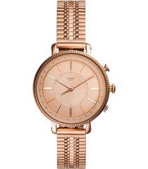 fossil q women's cameron rose gold-tone stainless steel bracelet hybrid smart watch 36mm