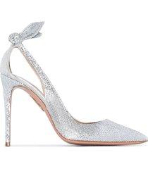 aquazzura bow tie glitter-effect pumps - silver