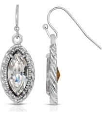 2028 silver-tone clear crystal navette-shaped earrings