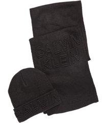 calvin klein men's ottoman logo hat & scarf set
