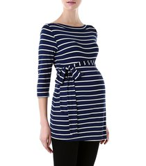 women's kimi and kai 'whitney' stripe belted maternity top, size medium - blue