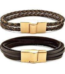 2 pulseira gafeno de couro masculina