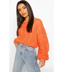 bobble knit sweater, orange