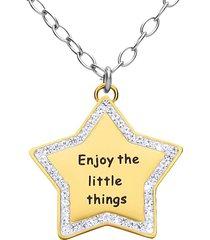 """collana in acciaio ciondolo stella dorato """"enjoy the little things"""" con strass per donna"""
