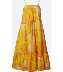 simon miller women's pumpa abstract summer dress - yellow - l