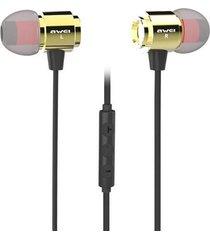 audífonos bluetooth, awei s10hi auricular intra-auricular 3.5mm sonido estéreo con control de volumen de micrófono (oro)