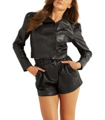 guess oxford cropped faux-leather jacket