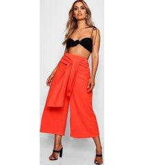 plus tie waist culottes, orange
