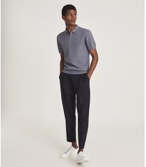 reiss albany - textured zip neck polo shirt in airforce blue, mens, size xxl