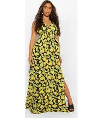 fruit print maxi dress, yellow