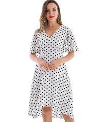 vestido lunares asimétrico blanco nicopoly