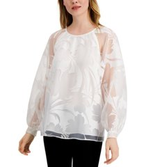 alfani petite floral-burnout raglan-sleeve top, created for macy's
