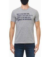 camiseta masculina estampa new cool cinza mescla calvin klein jeans - pp