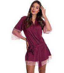 robe estilo sedutor em microfibra e renda manga 7/8 vinho com ros㪠- dr301 - vinho - feminino - dafiti