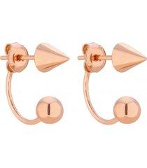kolczyki w różowym złoceniu z ćwiekami