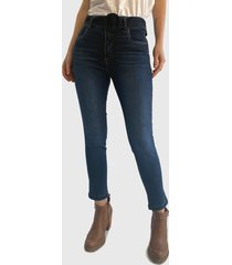 jeans wados pitillo tiro alto con cinturón azul - calce ajustado