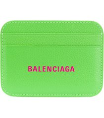 balenciaga logo embossed leather card holder - green