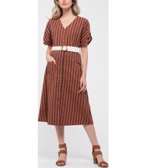 blu pepper button-down striped midi-dress