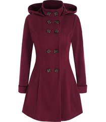 double breasted hooded wool blend coat