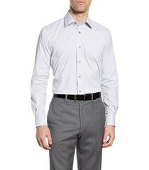men's david donahue performance trim fit stretch check dress shirt
