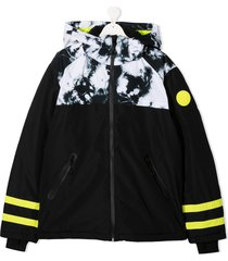 diesel kids teen tie-dye padded jacket - black