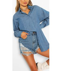 oversized denim overhemd in acid wash, donkerblauw