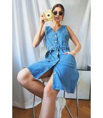 sleeveless belted denim skater dress, mid blue