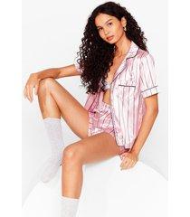 womens hold it stripe there satin pajama shorts set - pink